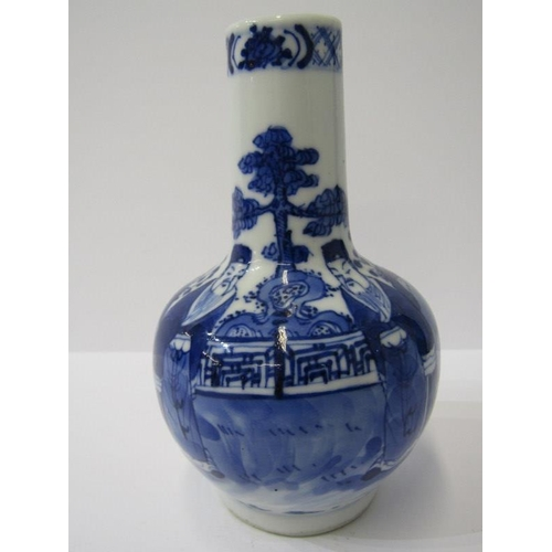 87 - ORIENTAL CERAMICS, 19th Century Chinese underglaze blue small bottle vase, decorated with 2 figures ...