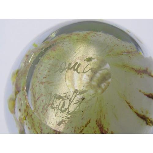 90 - PAPERWEIGHTS, Mdina blue glass fruit shaped paperweight, also signed Maltese glass paperweight and 2...