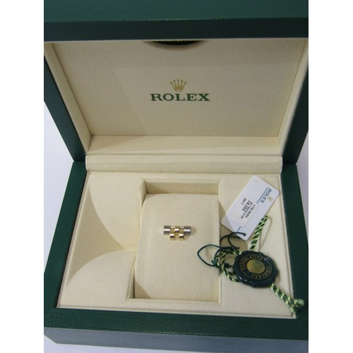 400 - ROLEX WATCH INNER & OUTER BOX, with tag, paperwork, card and spare bi-metal jubilee link bracelet...