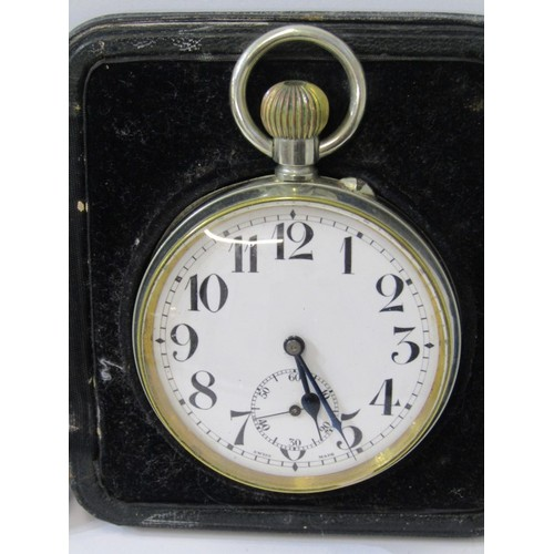 602 - GOLIATH POCKET WATCH in a silver faced leather bound easel case, plated pocket watch with white enam...