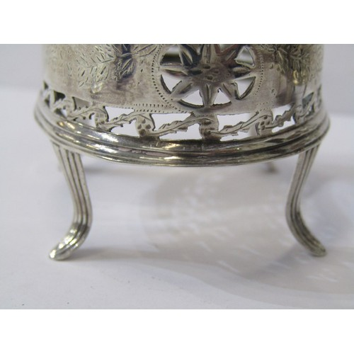 611 - IRISH SILVER SALTS, of oval form with pierced borders and blue glass liners on 4 cusp feet, marks wo...