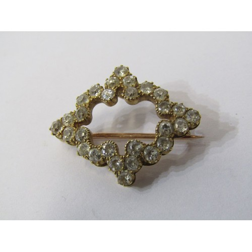 376 - 18CT YELLOW GOLD DIAMOND SET BROOCH/PENDANT, unusual design set with well matched old cut diamonds t...