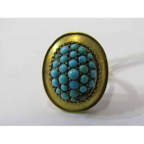 377 - 9CT YELLOW GOLD VINTAGE TURQUOISE CLUSTER RING, missing 1 small turquoise stone, size K/L...