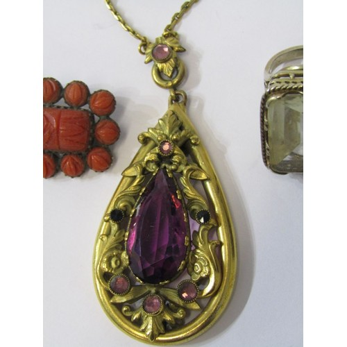 380 - BROOCH, PENDANT & RING, large pinchback pendant with amethyst colour stone on yellow metal chain, vi...