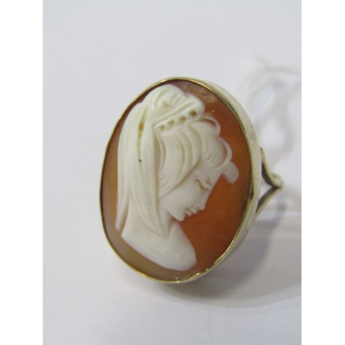 381 - 9CT YELLOW GOLD CAMEO STYLE RING, nicely carved shell cameo depicting Neo Classical Bust, approx. 6....