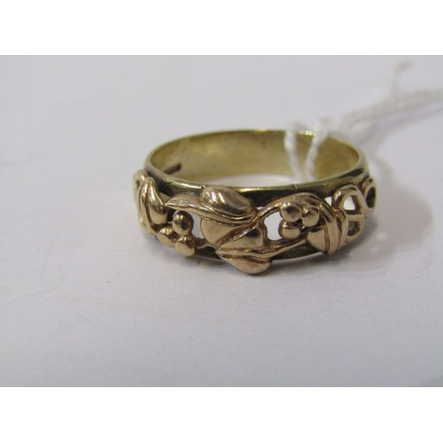 382 - 9CT YELLOW GOLD ETERNITY STYLE RING, with vine pattern, approx. 4.2grms in weight, size R/S...