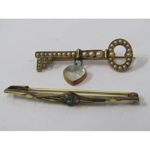383 - TWO YELLOW METAL BROOCHES, one in the form of a key, set seed pearl & moonstone...