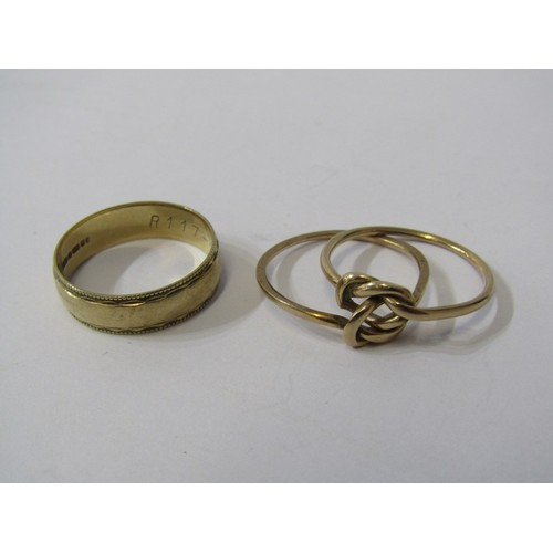 385 - TWO GOLD RINGS, 1 being a 9ct gold band the other un-hallmarked but tests gold, combined weight appr...