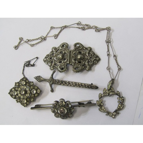 386 - SILVER & WHITE METAL ITEMS, including Scottish HM Claymore sword brooch, EPNS spelt buckle & others...