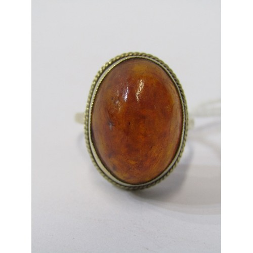 387 - 9CT YELLOW GOLD VINTAGE AMBER RING, cabochon cut amber in bezel setting, 9ct yellow gold shank, size...