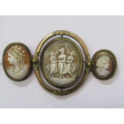 388 - CAMEO'S, vintage cameo brooches, all in yellow metal...