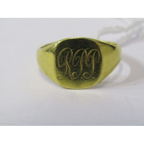 389 - 18CT YELLOW GOLD GENTS SIGNET RING, approx. 5.5grm in weight,  size V...