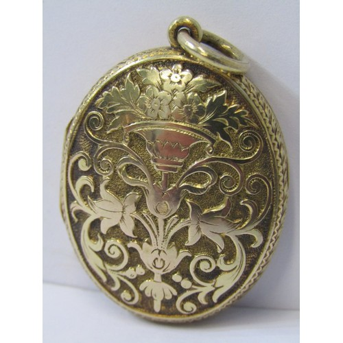 393 - GOLD LOCKET, yellow metal locket, tests high carat gold, approx. 9.4grms in weight...