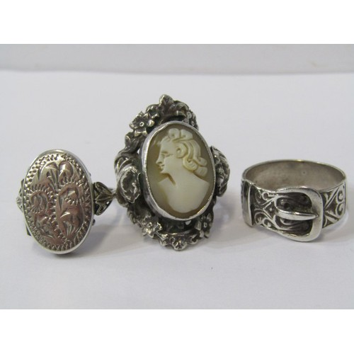 394 - SILVER RINGS, selection of 3 silver rings  including vintage belt buckle ring, locket ring & cameo r...