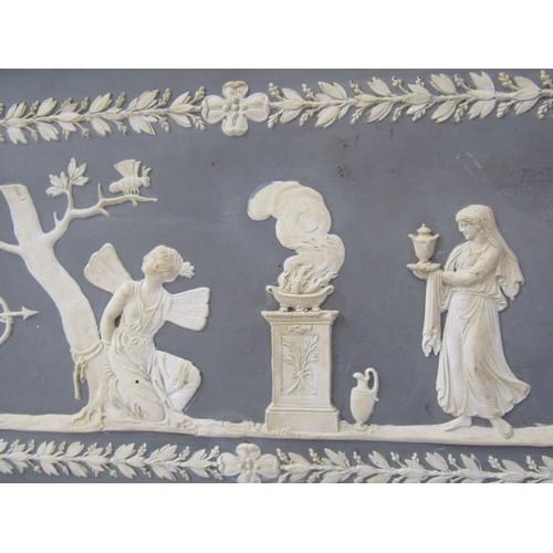 123 - JASPERWARE, 19th Century Jasperware style rectangular classical plaque, 6