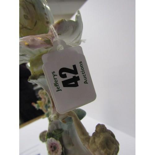 42 - THURINGIAN, pair of triple branch figure base floral encrusted candelabra (restored), 16