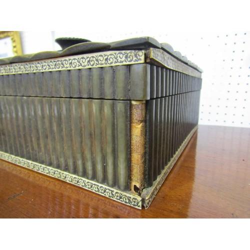 234 - EASTERN HORN & IVORY NEEDLEWORK CASKET, early 19th Century fitted interior rectangular needlework ca...