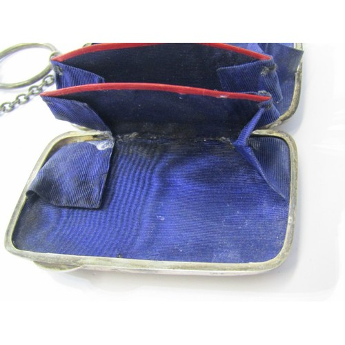 619 - EDWARDIAN SILVER PURSE with engraved decoration with fitted interior, Birmingham 1906, 3