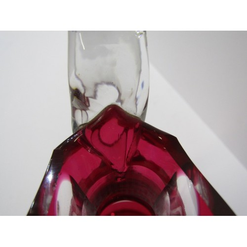 37 - GLASSWARE, ruby cased cut glass claret jug, together with 11 matching stem wines...