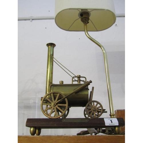 1 - LIGHTING, novelty Stephenson's Rocket base table lamp...