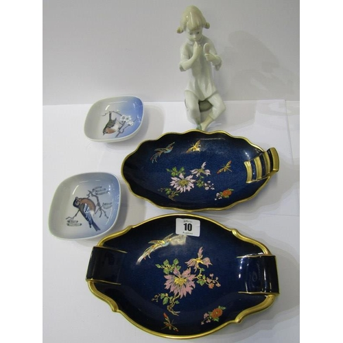 10 - COPENHAGEN, pair of bird decorated square trinket dishes, also 2 Carlton