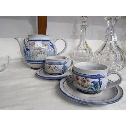 11 - STUDIO POTTERY, Honor Hussey Butley Pottery tea pot with pair of matching cups and saucers...