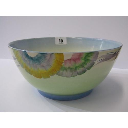 15 - CLARICE CLIFF, floral design blue rimmed 8.5
