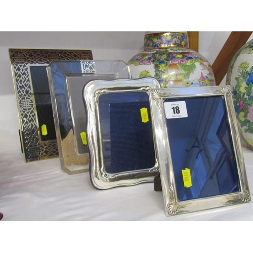 18 - PHOTO FRAMES, collection of 4 decorative easel photo frames