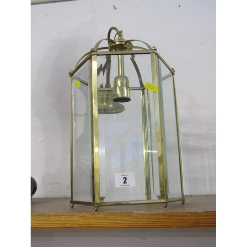 2 - LIGHTING, brass bevelled glass hexagonal lantern...
