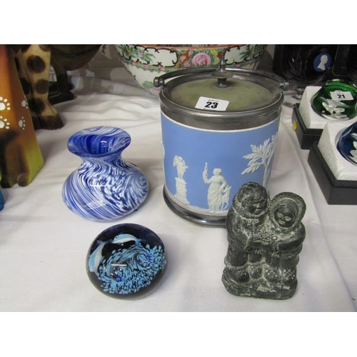 23 - WEDGWOOD BLUE JASPERWARE BISCUIT BARREL; also Innuit figure group, glass paperweight and marble glas...