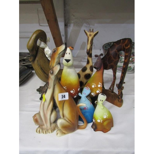24 - ANIMAL FIGURES, a collection of comical animal figures and African carvings...