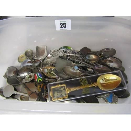 25 - CUTLERY, collection of souvenir crested spoons, including some silver, bread basket, serving dish an...