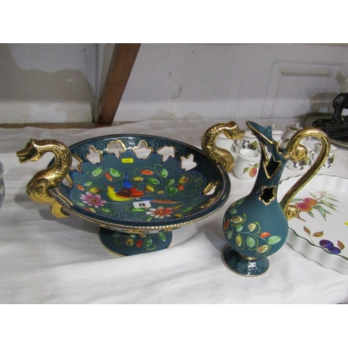 28 - CONTINENTAL POTTERY, impressive gilded centre piece with seahorse handles, signed H Beynes, Belgium ...