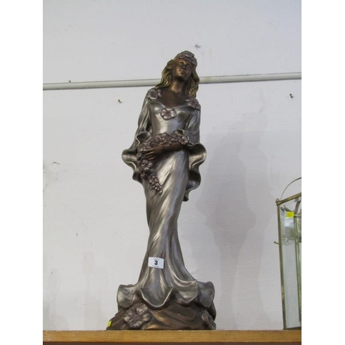 3 - SCULPTURE, Austin Production silvered figure of Young Lady, 25