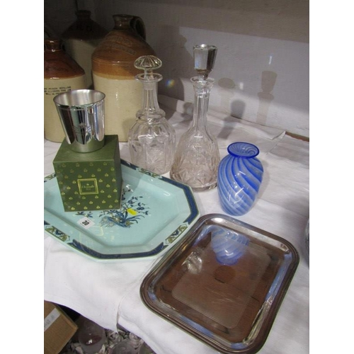 30 - CUT GLASS, 2 cut glass decanters, art glass vase, also Christofle engraved beaker and 2 other pieces...