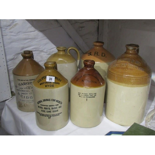 31 - ADVERTISING, Caffyn & Son, Hornsea Brewery flagon, W Hargreaves Botanical Brewery, Bridgend and 4 si...