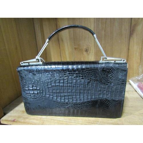 35 - FASHION, vintage crocodile skin and chrome mounted ladies handbag, 11
