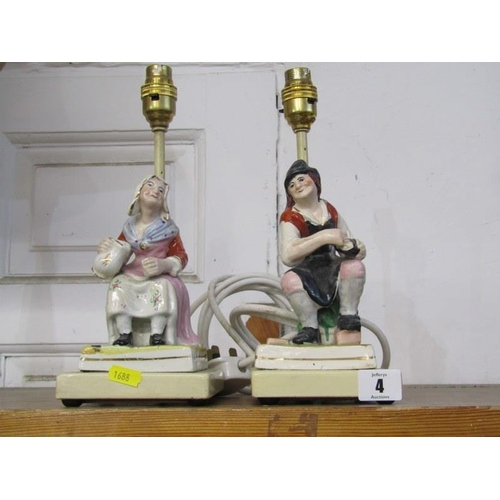 4 - LIGHTING, pair of Staffordshire pottery figure base table lamps, 7.5