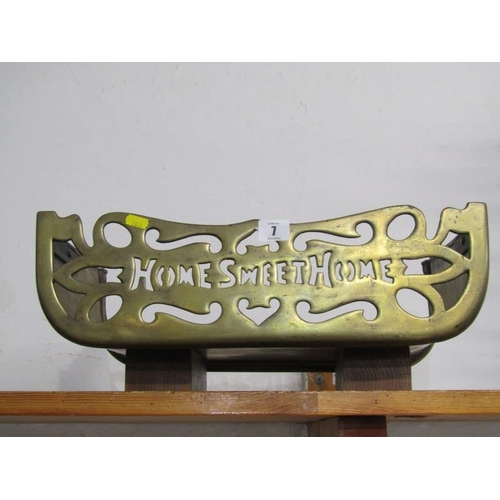 7 - ANTIQUE BRASSWARE, fretwork brass fender