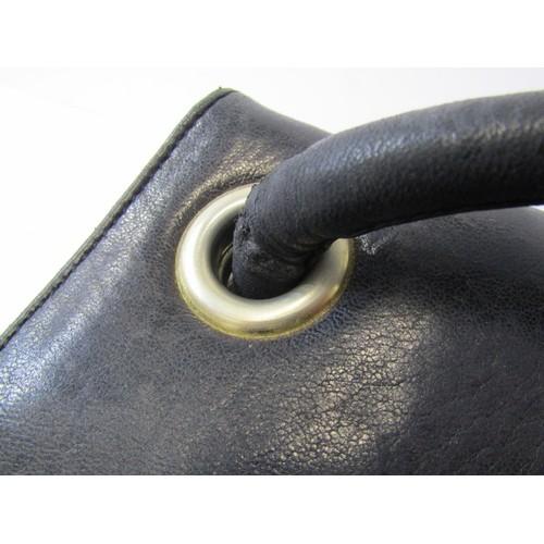 33 - FASHION, Chanel black leather handbag with cloth protective bag...