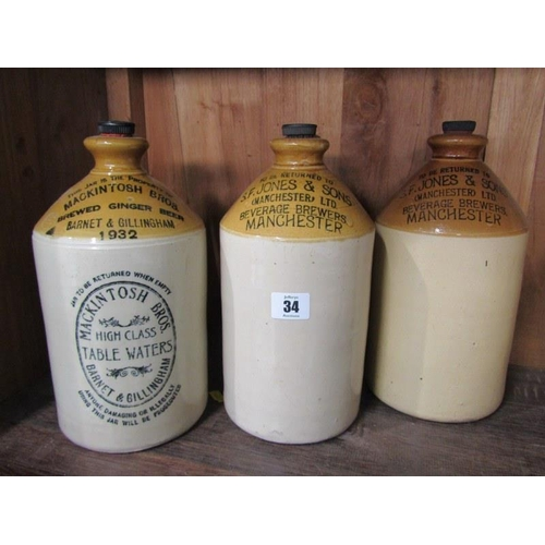 34 - ANTIQUE STONEWARE FLAGONS, by Mackintosh Bros. & 2 similar flagons by S.F.Jones & Son, Manchester, 1...