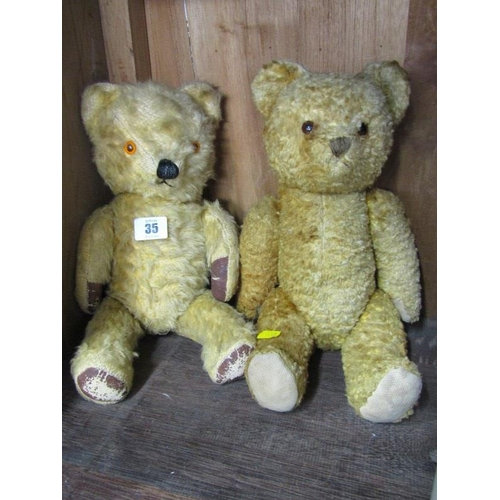 35 - TEDDY BEARS, 2 vintage gold plush jointed teddy bears, both 14
