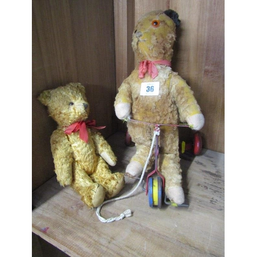 36 - TEDDY BEARS, vintage gold plush jointed 9