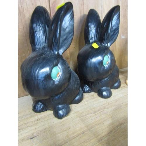 37 - SYLVAC RABBITS, 3 Sylvac small rabbits model no. 1298 & 1302 (2) also pair of large black painted se...