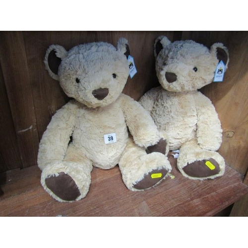 39 - TEDDY BEARS, pair of Jellycat, 16