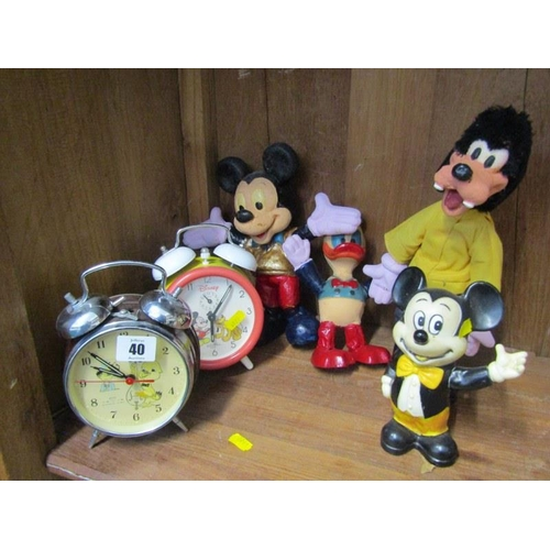 40 - DISNEY, Mickey Mouse alarm clock, 2 Mickey Mouse figures, Donald Duck & Goofy together with similar ...