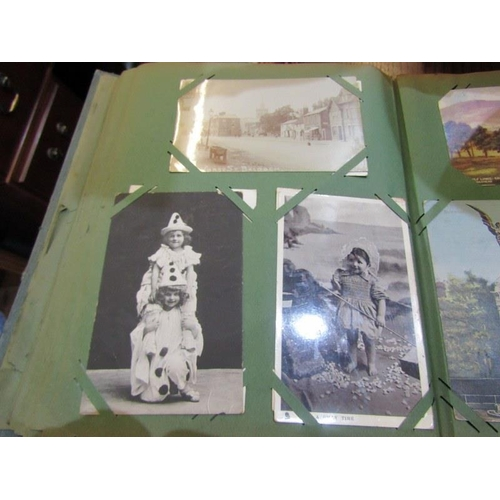 441 - EDWARDIAN POSTCARD ALBUM, approx 125 views and other cards, many Scottish scenes, also comical cards...