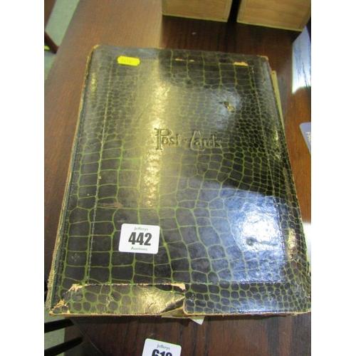 442 - POSTCARD ALBUM, vintage postcard album containing approx 85 postcards, including Army uniforms, view...
