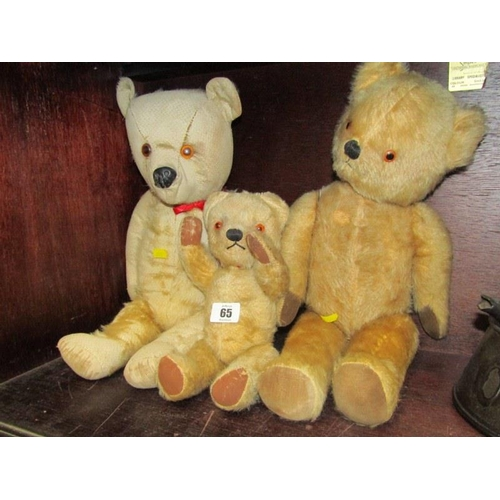 65 - VINTAGE TEDDY BEARS, gold plush 18