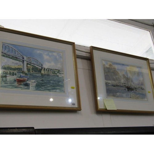 460 - NORMAN PRESTON, 2 Signed water colours 'Saltash Bridge' and 'Devonport', 10